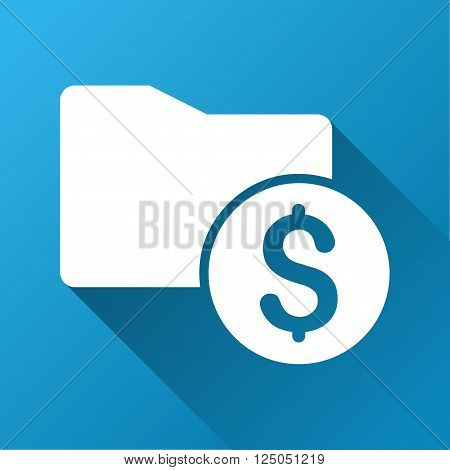 Money Folder vector toolbar icon for software design. Style is a white symbol on a square blue background with gradient long shadow.