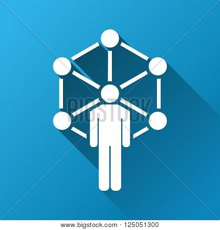Network Center Administrator vector toolbar icon for software design. Style is a white symbol on a square blue background with gradient long shadow.