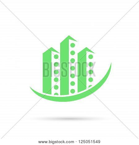Real estate icon tall buildings illustration 2d vector eps 8