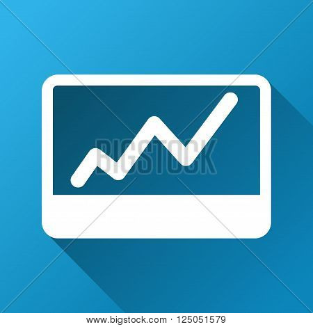 Stock Market Chart vector toolbar icon for software design. Style is a white symbol on a square blue background with gradient long shadow.