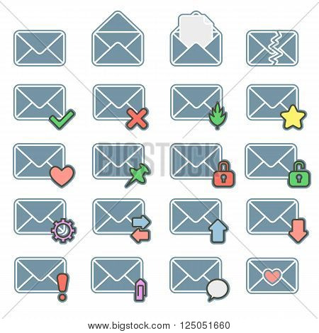 Lovely envelopes - a set of web icons. Isolated vector illustration.