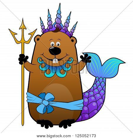 Funny cartoon beaver in Neptune Poseidon carnival costume