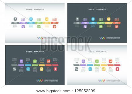 Set of timeline infographic design templates. Timeline infographic with diagrams and text. Vector illustration for workflow layout, diagram, number options, web design, business presentation.