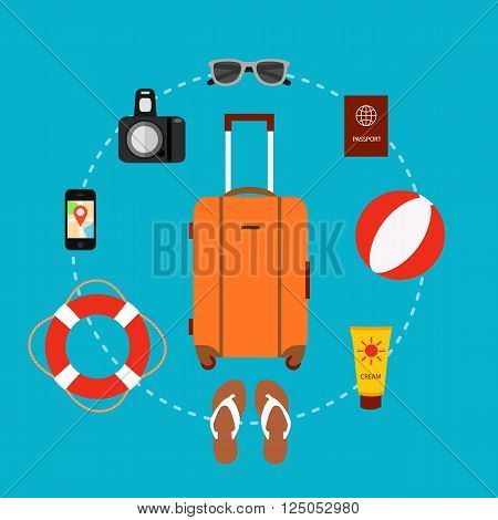 Travel suitcase concept with travel elements, voyage tourism icons. Summer travel suitcase concept. Voyage travel baggage  concept in flat style. Vector illustration of summer tourism background