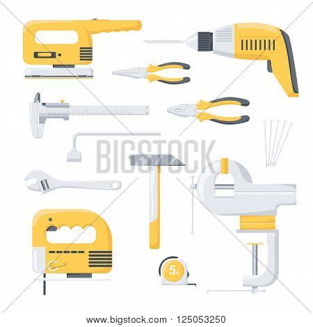 Collection of electric and mechanical power repair worker tools. Power tools. Hand tools. Flat vector illustration.