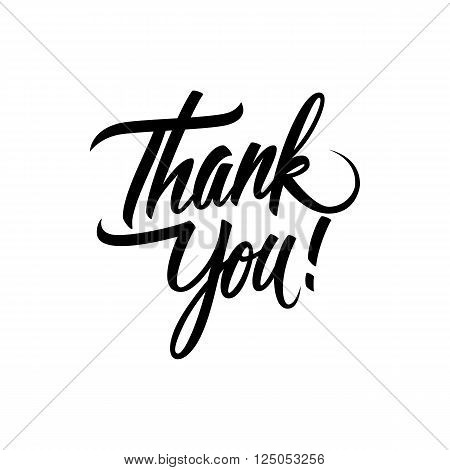 Thank You handwritten inscription. Hand drawn lettering. Thank You calligraphy. Thank you card. Vector illustration.