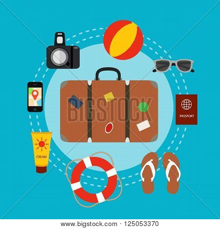 Travel baggage concept with travel elements, voyage tourism  icons. Summer travel luggage concept suitcase. Voyage travel concept in flat style. Vector illustration of summer tourism background