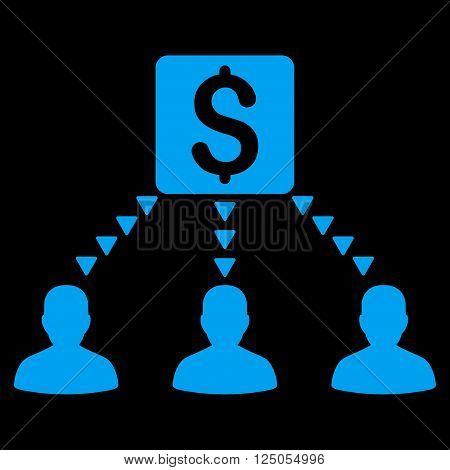 Money Recipients vector icon. Money Recipients icon symbol. Flat blue money recipients icon.