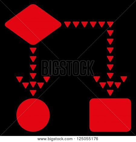 Algorithm Flowchart vector icon. Algorithm Flowchart icon symbol. Flat red algorithm flowchart icon.