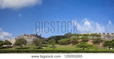 Panorama San Felipe Castle in Cartagena de Indias