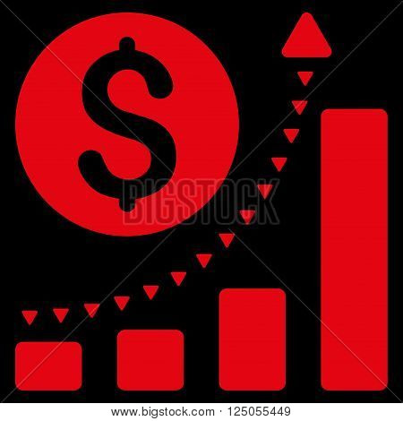 Business Bar Chart Positive Trend vector icon. Business Bar Chart Positive Trend icon picture.