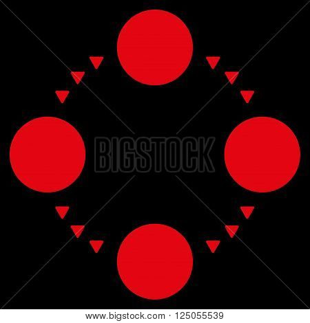Circular Relations vector icon. Flat red circular relations icon.