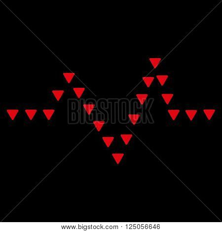 Dotted Pulse vector icon. Dotted Pulse icon symbol. Dotted Pulse icon image. Dotted Pulse icon picture. Dotted Pulse pictogram. Flat red dotted pulse icon. Isolated dotted pulse icon graphic.