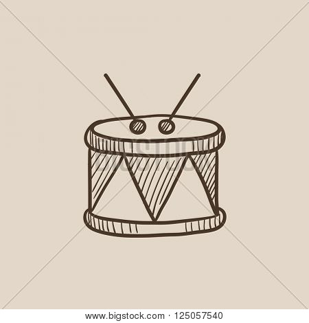Drum with sticks sketch icon.