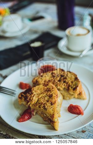 French Toast With Coffee And Mascarpone Filling And Strawberries
