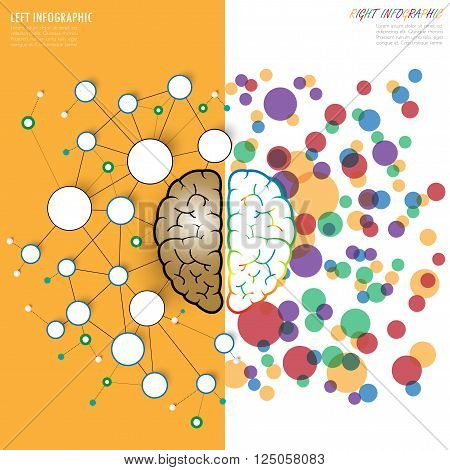 Left And Right Brain Functions Concept, Analytical Vs Creativity. Vector. Illustration.