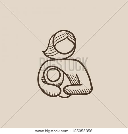 Woman holding baby sketch icon.