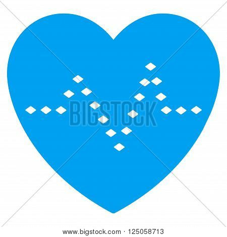 Dotted Heart Pulse vector toolbar icon. Style is flat icon symbol, color, white background, rhombus dots.