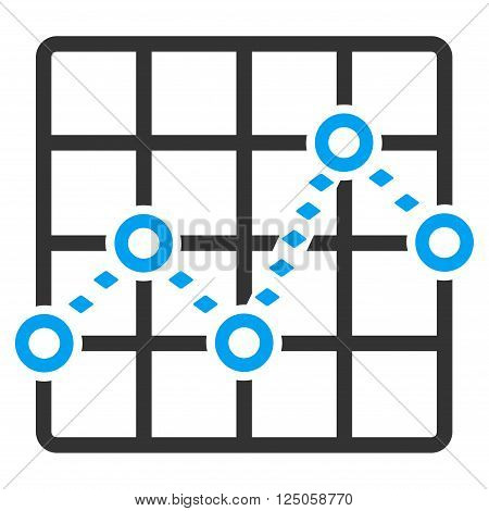 Dotted Line Grid Plot vector toolbar icon. Style is flat icon symbol, color, white background, rhombus dots.