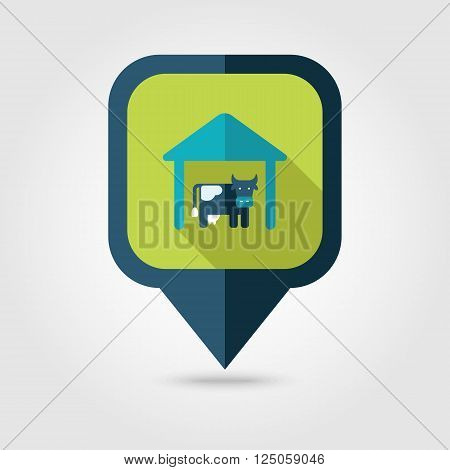 Cowshed flat pin map icon. Map pointer. Map markers. Farm. Field. Vector illustration eps 10