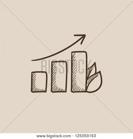 Bar graph with leaf sketch icon.