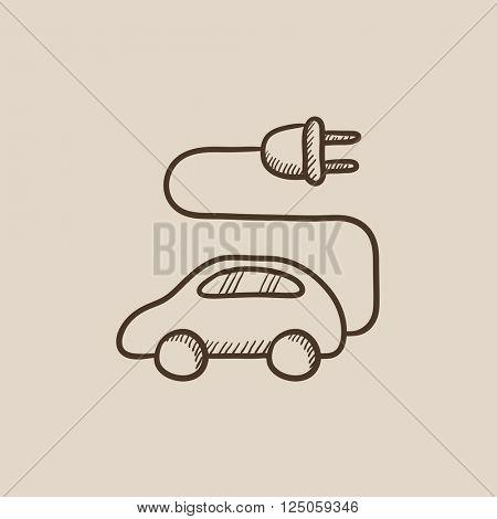 Electric car sketch icon.