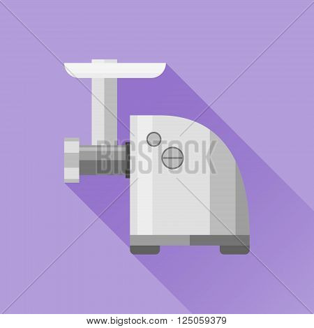 Electric meat grinder flat icon with long shadow on purple background