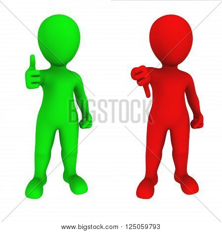 3d people show thumbs up and thumb down gestures. YES and NO