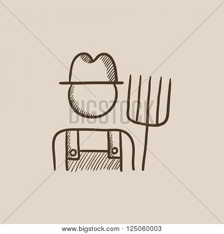 Farmer with pitchfork sketch icon.