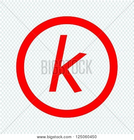 Basic font letter k icon Illustration design
