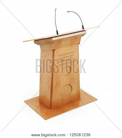 Image podium tribune with microphones isolated on white background. 3d rendering.