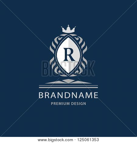 Vector illustration of Luxury King place boutique brand real estate property royalty crown logo crest logo. Elegant line art design graceful template. Letter emblem R