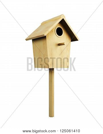 Wooden bird house on a pole isolated on a white background. 3d rendering.