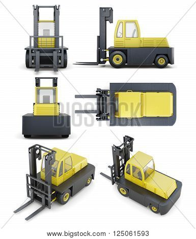 Set of forklift isolated on white background. 3d render image.