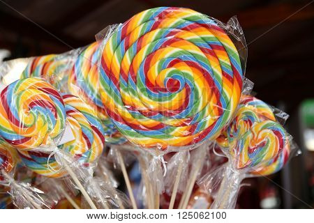 Colorful Lollipops On Street Market As A Background