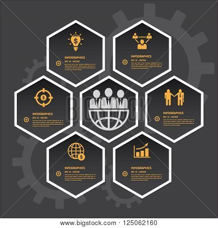 hexagon infographics with icons set. vector illustration
