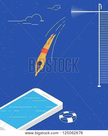 Man jumps into the smartphone conceptual illustration of social networking and content consuming.
