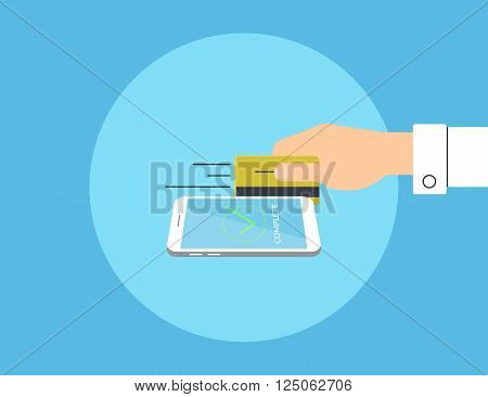 Payment by golden credit card linked to the smartphone. Flat illustration of human hand doing payment via cellphone on blue background
