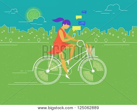 Young woman rides white outlined bicycle in the park in spring season and texting messages to friends . Flat color illustration of teenage healthy leisure and freedom