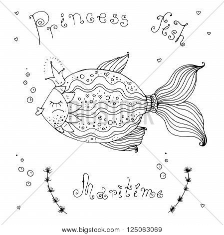 Vector illustration fish princess with a crown.  Original hand drawn phrase  princess fish, maritime. Painted on a white background