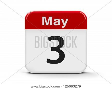 Calendar web button - The Third of May - World Press Freedom Day three-dimensional rendering, 3D illustration