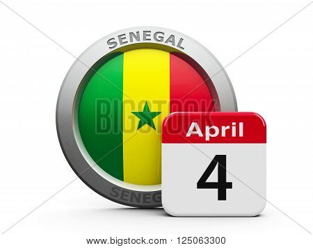 Emblem of Senegal with calendar button - The Fourth of April - represents the Senegal independence day three-dimensional rendering, 3D illustration