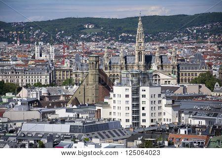 Cityscape of Austrian capital Vienna from Stephansdom blue sky
