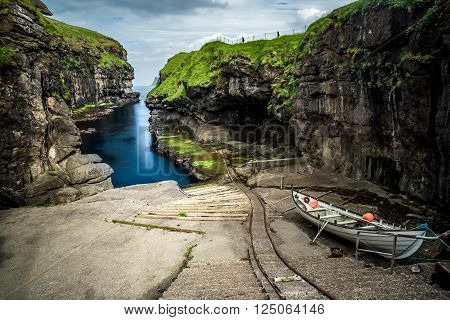 Gjógv is a village located on the northeast tip of the island of Eysturoy, in the Faroe Islands and 63 km north by road from the capital of Tórshavn.
