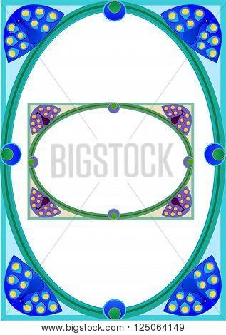 Spandrel type oval rectangular border with peacocks