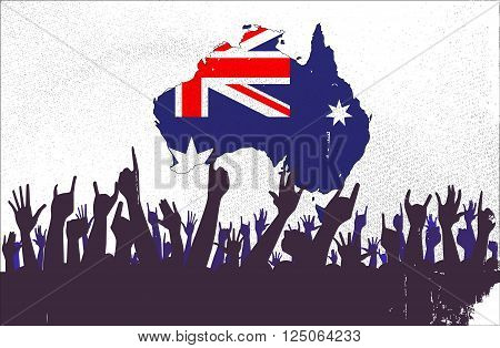 Audience happy reaction with the Australian map and flag background