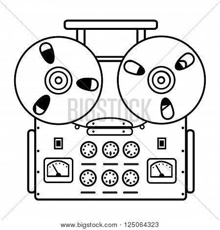 reel tape recorder on white background. vector illustration.