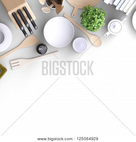 Branding Mock Up Kitchen With Table And Kitchenware.
