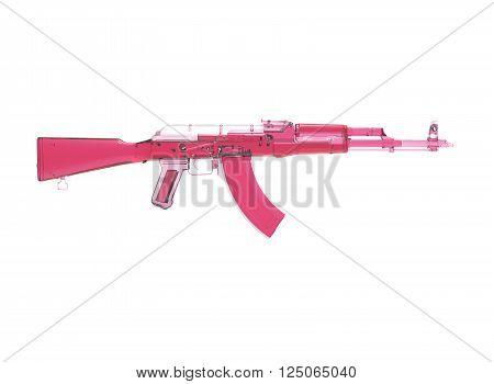 akm assault rifle 3d illustration in color. metal parts. transparent body. lines contour.