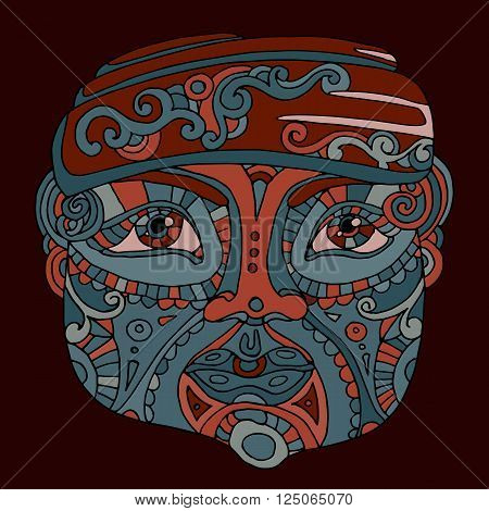 hand drawn ethnic head, indian idol totem face, vector illustration
